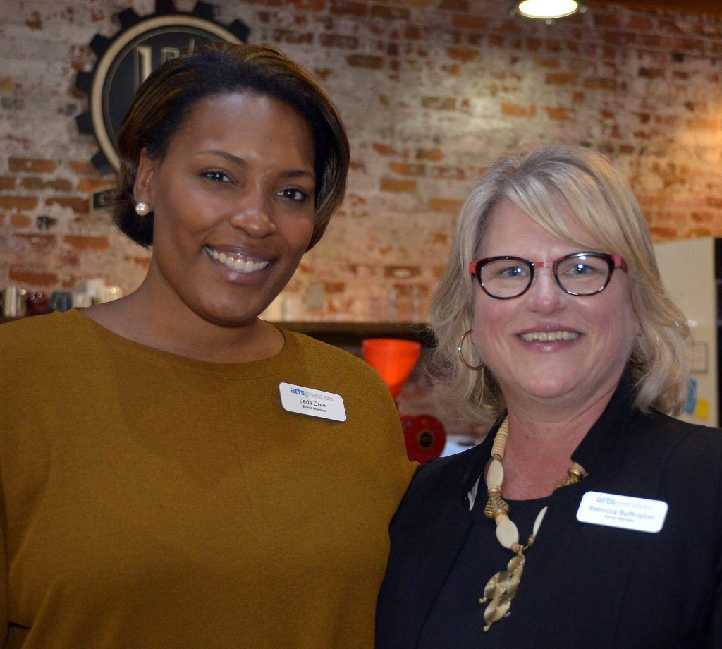 ArtsGreensboro Board Members Jada Drew, left, and Rebecca Buffington, right.